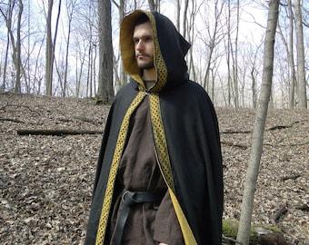 Celtic Cloak, Renaissance Medieval Cape, Black Linen Lined with Gold, Celtic Knot Trim - Deluxe