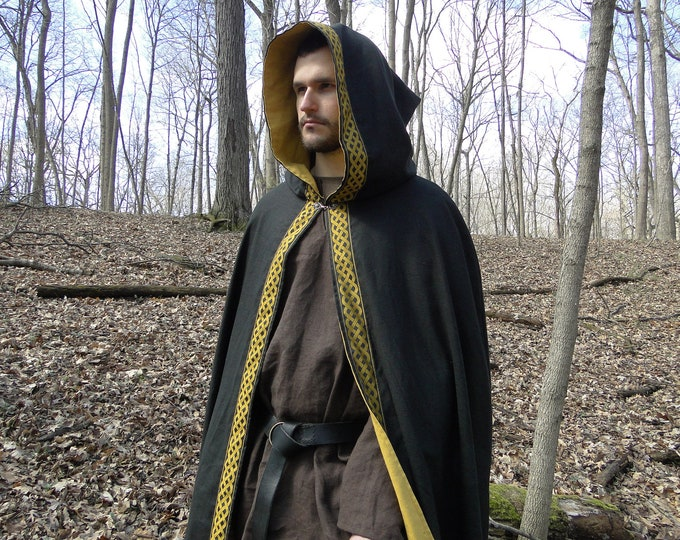 Celtic Cloak, Renaissance Medieval Cape, Black Linen Lined with Gold, Celtic Knot Trim - Deluxe