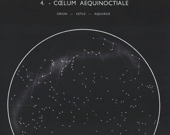 1950's Orion, Aquarius, Cetus Constellations Original Vintage Star Chart Space Astronomy Plate (ref4)