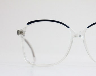 Vintage Oversized Navy Crystal Eyeglasses