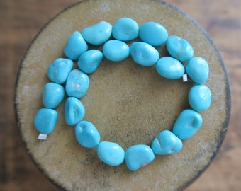 "BREATHTAKING Robin's Egg Sleeping Beauty Turquoise Polished Nuggets, 6mm - 9.5mm x 9mm -11.5mm, 7-7/8"" Strand"