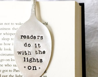 Funny Spoon Bookmark. Readers Do It With the Lights On. Spoon Book Marks. Original Milk & Honey ® Design.