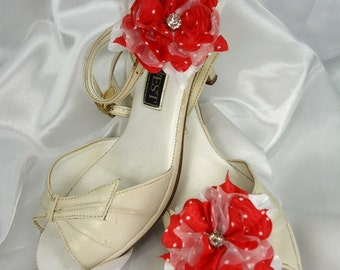 Red Shoe Clips, Flower Shoe Clips,  Wedding Accessories, Bridal Shoes Clips, REX15-203
