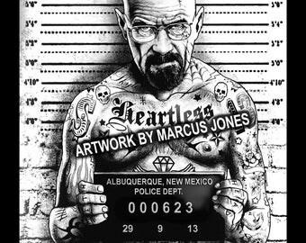 Heisenberg Mugshot Art Print by Marcus Jones