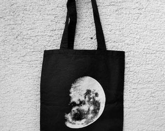 Moon - Black Tote Bag, Hand Screen Print