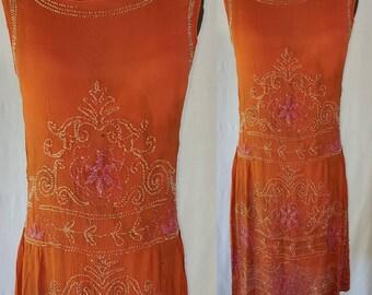 Flapper Dress, 1920s 20s twenties, Beaded Dress. Sold AS IS