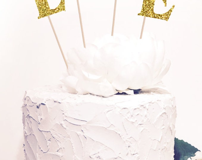 L O V E Cake Topper, Glitter  Sparkle Chic Wedding decor, Glitter both sides.