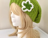 READY TO SHIP Crocheted St. Patrick's Day Sparkle Shamrock Slouchy Hat / Beanie - Teens, Women