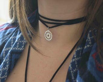 Silver sun charm choker, vegan, pick your color, bolo necklace, bohemian, black choker, essential oil diffuser necklace, sun necklace, boho