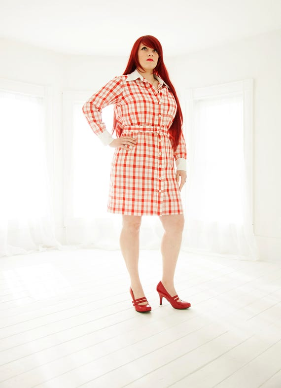 Vintage red plaid mini dress, long sleeve white collar cuffs, cotton, L XL plus size, 1970s
