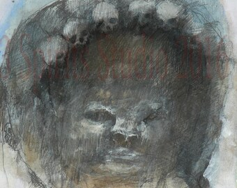 "Original art brut neo expressionist Mixed Media Small Drawing- ""Hallowed Helmet"""