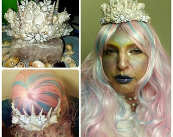 Mermaid 'Frosty Fey' tiara, seashell crown, goddess headdress, beach wedding, siren cosplay, boho accessory, fairy costume, winter dragon