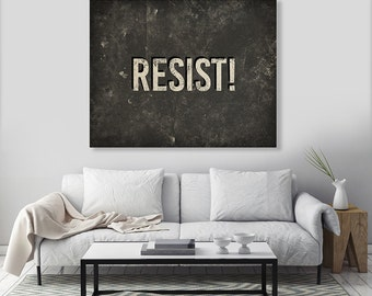 CUSTOM -  READY to HANG - Gallery Wrapped Canvas Wall Art Resist Type Text Quote Words Sign Typography