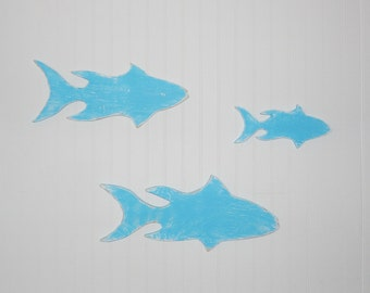 Fish Wall Art Decor Distressed Fish Wall Decor Set Of 3 Coastal Decor  Wooden Fish