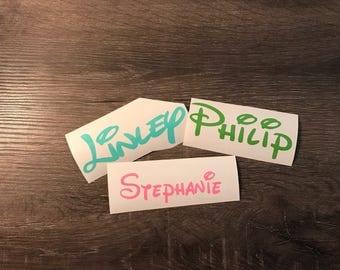 Disney-Like Name Vinyl Decal, Personalized, Yeti Decal, Laptop Decal, Cell Phone Sticker, car decal, Walt Disney, Disney writing