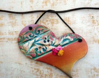 Heart Wall Hanging, Handmade Asymmetric Wall Heart, Ceramic Love Sign, XOXO Art, Ready to Ship.