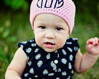 Personalized Baby Gift - Baby Hat - Custom Newborn Hat - Crochet Newborn Hat - Personalized Baby Girl Gift - Monogram Baby Girl - Girl Baby