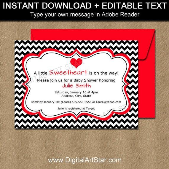 valentine baby shower invitation template editable baby shower
