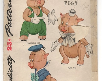 1945 Simplicity Disney Three Little Pigs Stuffed Animal Pattern - No. 7112