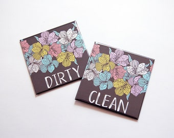 Clean Dirty Magnets, Floral, Dirty Dishes Magnet, Clean Dishes Magnet, Dishwasher Magnet, Kitchen Magnet, Flowers, Floral Magnet (7333)