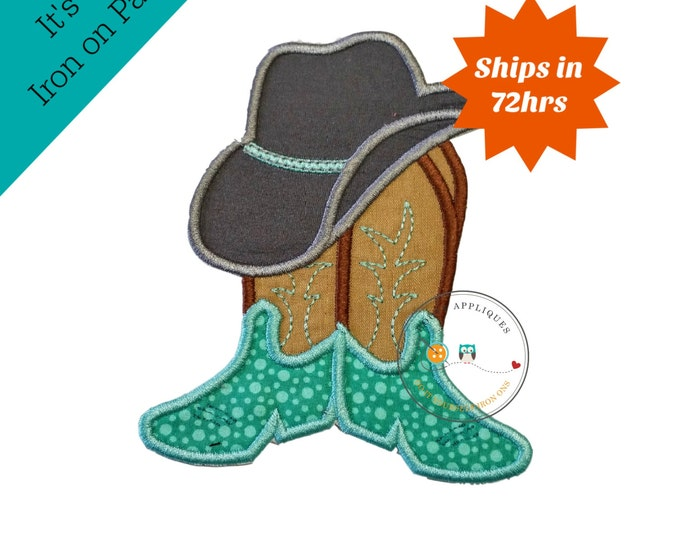 Cowboy hat with brown and tan boots and teal ban- western fabric applique- farm boy- iron on patch-ready to ship pre-made