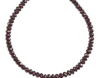 Natural Red Garnet Necklace 14 Gold Filled  or Sterling Silver Solid Strand Faceted 20 Inch  AAA Deep Rich Red in Color 6mm Statement Piece