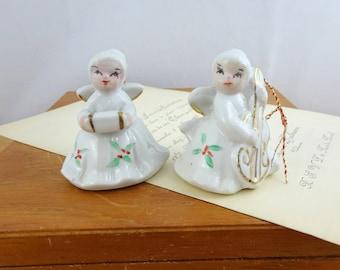 Pair of Vintage Ceramic Christmas Angel Ornaments | Ceramic Angels | Christmas Decorations