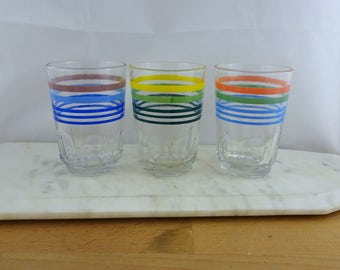Set of 3 Vintage Drinking Glasses, Retro 1980's, 9oz Glass Tumblers , Summer BBQ Picnic, Juice Glasses, Striped Colours, Unused in Packaging