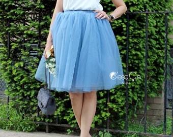 Clarisa - Dusty Blue Tulle Skirt, Blue Puffy Princess Tutu, Bridesmaids Skirt, Regular Midi Tulle Skirt, Plus Size Tulle Skirt, Wholesale
