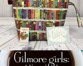 Gilmore Girls project bag, Large knitting and crochet project bag.Rory's books Fabric, Cross Stitch project bag. Luke's diner decal