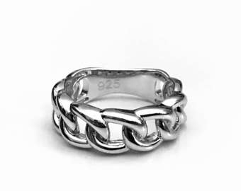 Chain Link Ring, Sterling Silver Ring, Biker Ring, Gifts for Her,  Gifts for Him, Sterling Motorcycle Ring