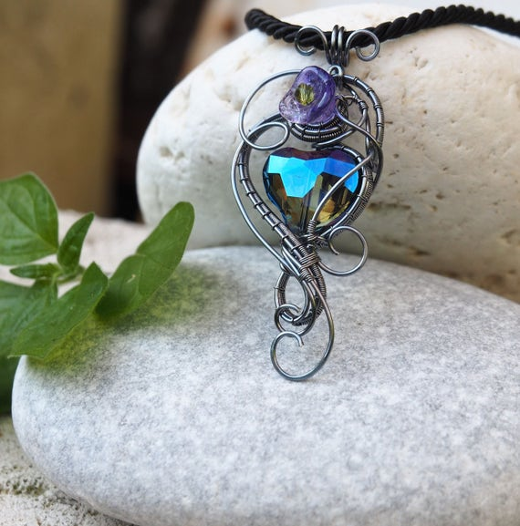 Blue Crystal Heart ~ Grey wrapping ~ Wire wrapped jewelry ~ Handmade jewelry ~ Original designs