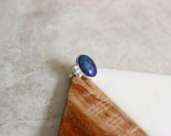 Blue Lapis Lazuli Ring, Sterling Silver Ring, Ring Size 6.5 US