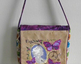 Handmade Quilted and Embroidered Victorian Style Purse