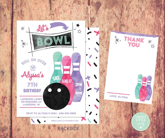 Bowling Party invitation, Watercolor Bowling Invitation Kit  - Invite AND Thank You Card included -Printable or Printed Option