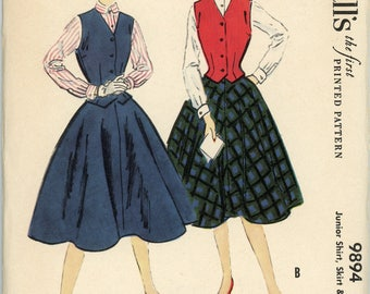 Vintage McCall's Pattern 9894 - 1954 - Junior Shirt, Skirt and Weskit Size 11 Bust 29