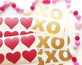 FREE & quick shipping! Valentine decals - XO's and hearts
