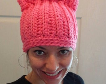 Pink Cat Hat Kitten Hat Pussycat Hat Crochet Hat Knit Hat Teen/ Adult Slouch Hat Slouchy Beanie