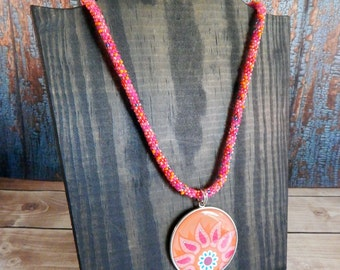 Pink and Orange Beaded Necklace with Flower Paisley Pendant