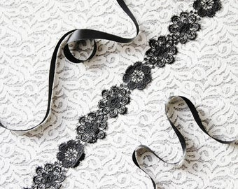 Wedding Sash Belt Bridal Sash Belt Black Sash Belt - Embroidery Lace Sash Belt Flower Sash Belt - Wedding Dress Sashes Belts Floral Sash
