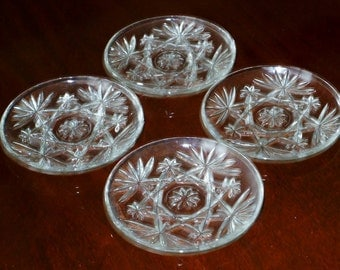 """4 EAPC SNACK PLATES 4 1/2"""" Fan and Star Set Cut Crystal Anchor Hocking Prescut Flat Clear Glass Sherbet Plates Excellent Condition"""