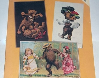 1985 Book of TEDDY BEAR Postcards, Copies of Vintage Cards