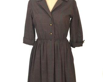 vintage 1950s plaid shirtwaist dress / Gay Gibson / brown red green / cotton blend / day dress / women's vintage dress / size large