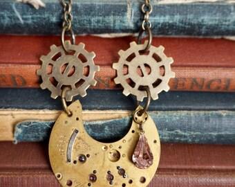 Steampunk Jewelry, Watch Pendant, Clockwork Jewelry, Steampunk Necklace, Gear Jewelry, Gear Necklace, Watch Working, Steampunk Pendant