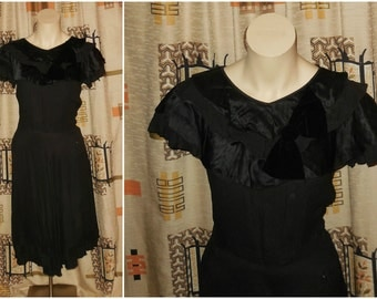 Vintage 1930s Dress Black Rayon Satin Large Velvet Bow Trim Flouncy Gorgeous Art Deco Flapper Film Noir Unique Must See! Med W 30 in AS IS