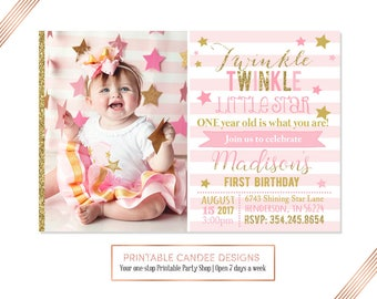 Twinkle Twinkle Little Star 1st Birthday Invitation, Pink and Gold Glitter Invitation, Star Party, Printable
