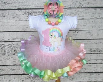 Unicorn Birthday Outfit - Pastel Rainbow Unicorn Tutu - Unicorn First Birthday Dress - Ribbon Tutu - Applique Shirt - Unicorn Theme