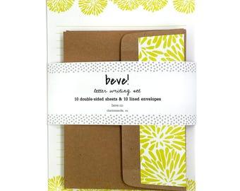 Floral Letter Writing Set - Acid Green Mum Stationery Set