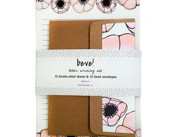Floral Stationery Set - Pink Anemone Letter Writing Set - Bridal Shower Gift