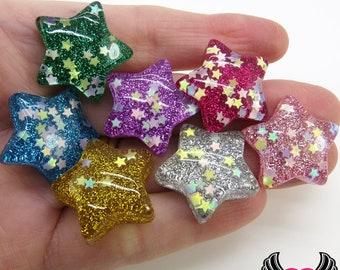 Sequin Star GLITTER STARS 6 pc Flatback Decoden Resin Kawaii Cabochons 25mm, glitter star cabochons, bow centers, flatback stars